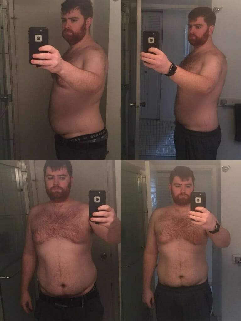 Just a 3 month difference between these pictures and you can already see the significant changes that Dylan has made: over 20lbs of fat loss and drastically improved posture.